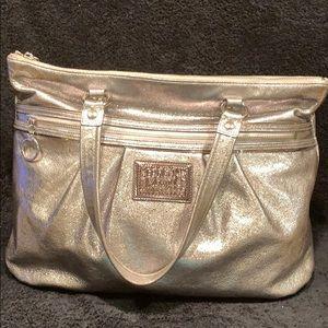 COACH Poppy silver metallic tote
